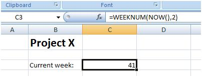 Figure 5: Formula to display the current week's number