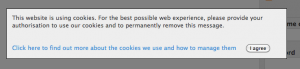 Cookies Acknowledgement Message