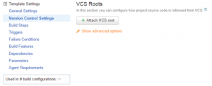 Attach VCS Root Option