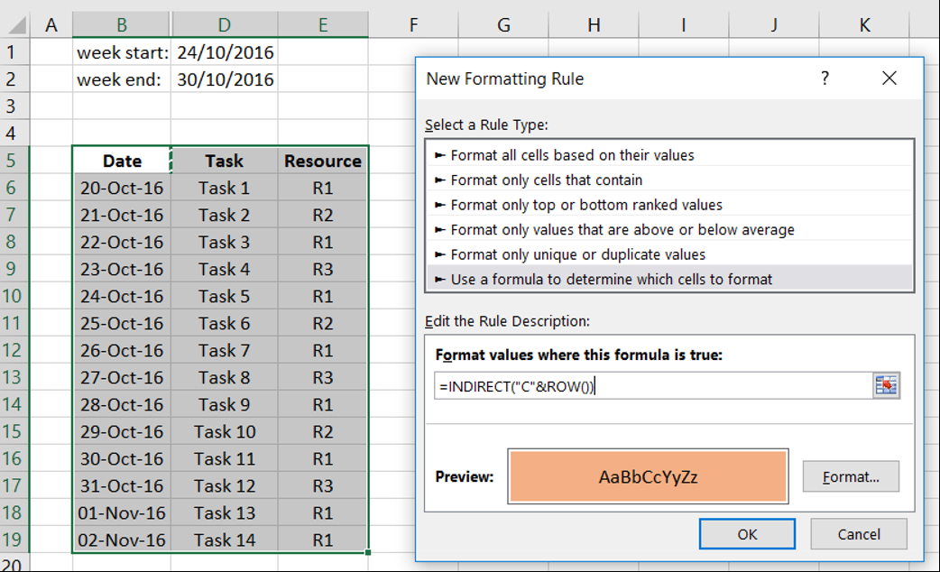 Adding cell formatting