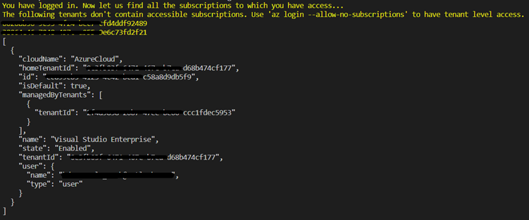 az login output