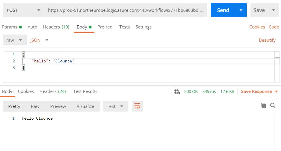 Postman test of the Echo API